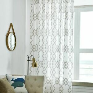 Geometric Curtains Window Drapes Panels Semi-sheer Modern Home Curtain Decor New