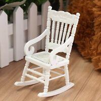 1:12 Dollhouse Miniature Furniture White Wooden Rocking Chair Seat Kid Toy Gift
