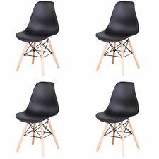 Pack 4 sillas con patas de madera sillas de comedor cocina salón negro HL