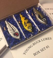 "YOUNG BUCK LURES 4"" 3pc GLIDEBAIT BOX SET #1 NORTHERN PIKE MUSKY BASS STRIPER"