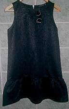 Black paisly pattern polyester  Flared Hem  A Line Dress SIZE 8  NEW