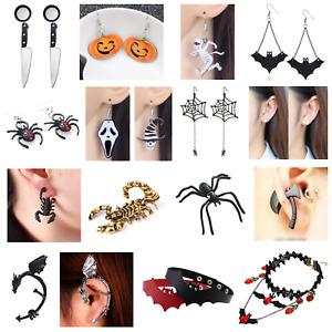 👻HALLOWEEN JEWELLERY Necklace Earrings Cuff Choker Costume Spider Ghost Bat👻