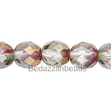 50 Two Color Pink & Purple Luster 8mm Round Czech Glass Fire Polished Beads