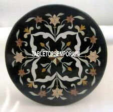 """24"""" Black Marble Coffee Table Top Marquetry Inlay Stone Hallway Occasional Decor"""