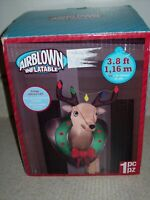Gemmy Airblown Inflatable Hanging Mounted Reindeer Head w Christmas Lights 3044