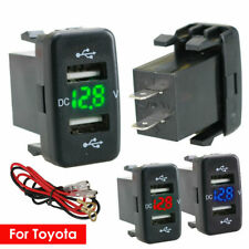 12-24V Dual USB Car Charger Socket Voltmeter 4.2A Power Adapter Fit to Toyota GT