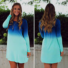 Women Long Sleeve Loose Tunic Mini Shirt Dresses Fashion Party Jumper Dress Tops