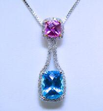 14k White Gold, Diamond, Blue Topaz, and Pink Quartz Pendant Necklace