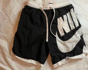 Vintage Nike Black Tag Big Swoosh Nylon Shorts Swim Trunks Large Black