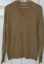 BALLANTYNE 100% cashmere vicuna light brown tan vneck vtg sweater 44 XL scotland