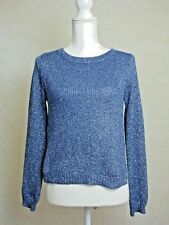 Womens H&M Blue Sparkly Shimmer Knit Jumper Top Winter Divided Christmas UK 6