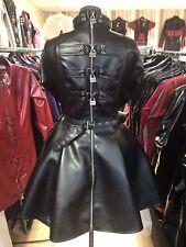 Misfitz blk leather look padlock lockable skater dress size 20 Goth TV CD