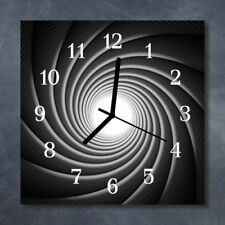 Glass Wall Clock Kitchen Clocks 30x30 cm silent Whirl Black