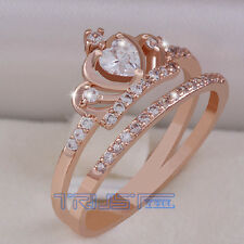 New Size 8 Women's Crown Ring copper Rose Gold AAA Grade Zirconfashion