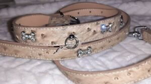 Pets at home Cream DIAMANTE BONE Dog Collar textured faux leather or large set