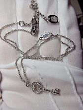 Juicy Couture Silver plated Wish Key Pave crystal Pendant Necklace