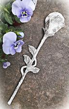❀ Rose am Stiel Creme Grau 32cm Grabdeko Relief Zement Keramik Urnengrab #141