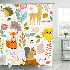 Cartoon Animal Shower Curtain Deer Squirrel Hedgehog Fox Child Curtain HomeDecor