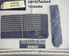 NEUF 100% soie silk foulard + cravate SNCF par GUY LAROCHE PARIS TGV ATLANTIQUE