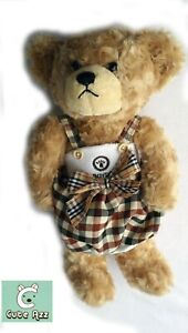 COLLECTABLE CUTE AZZ PLUSH CLOTHED TEDDY BEAR CHECKERED DRESS WITH WHITE TOP B53