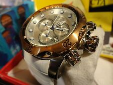 Invicta 11854 Reserve Venom Rose Gold Swiss Chrono White Leather Band Watch NEW