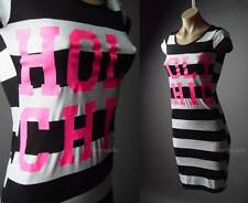 Holy Chic Novelty Text Pink Graphic Black White Stripe Tee T-Shirt 92 ac Dress M