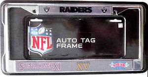 Oakland Raiders 3X Champions Chrome FRAME Metal License Plate Tag Cover Football