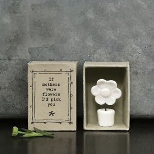 East of India White Porcelain FLOWER in a Vintage Matchbox IF MOTHERS New 2021