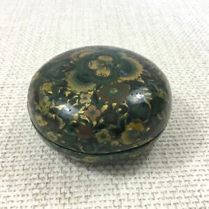 Vintage Indo Persian Hand Painted Trinket Box Paper Mache Lacquered