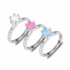 6 MM Classic Round White Pink Blue Fire Opal gems Silver Plated Ring Sz 7 8 9