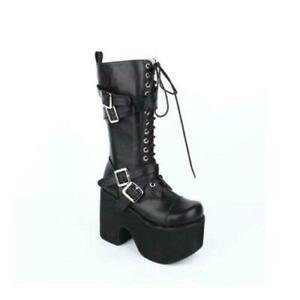Women's Knee High Boots Trend Punk Platform Lolita Street Cosplay Riding Shoes