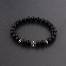 2017 New Cross Beaded Rosary Adjustable Black Lava Bead  Men Fashion Bracelets
