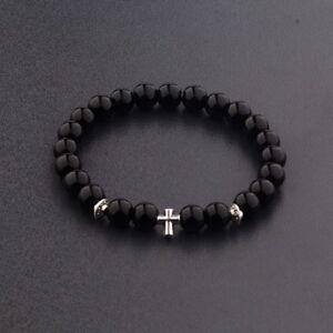 2017 New Cross Beaded Rosary Adjustable Black Lava Bead  Men Fashion Bracelets