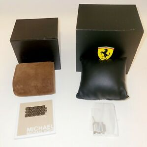 Empty Michael Kors & Ferrari Watch  Boxes with Pillows, Extra Links, & MK Manual
