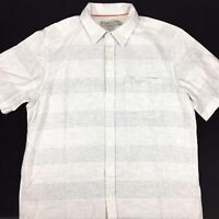 RM Williams Mens Linen and Cotton Button Up Short Sleeve Shirt Size M White Grey