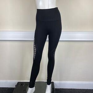 Gym Shark Ladies Black Gym Active Ladder Hole Detail Leggings Pants UK Small