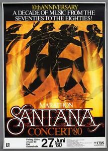 SANTANA - rare vintage original Kiel 1980 MARATHON concert poster *SIGNED*