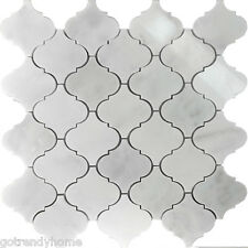 1.1SF White Marble Natural Stone Moroccan Pattern Mosaic Tile Kitchen Backsplash