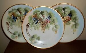 THREE D & C Delinieres Limoges FRANCE Hand Painted PLATES 9""