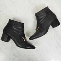 [ WITTNER ]  Womens Black Leather Ankle Amida Boots RRP$249.99 | Size 40