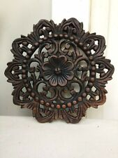 """Hand - Carved Floral Wood Wall Hanging Panel Home Decor 9.5"""""""