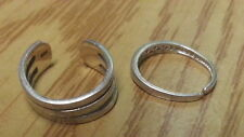 Beautiful Two Solid Band Purple Czs Toe-rings Sterling Silver Size Adjust E348*