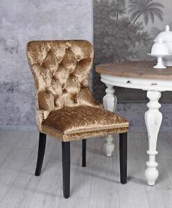 Dining Chair Velvet Gold Upholstered Luxury Samtsessel Living Room Gatsby
