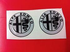 2 Adesivi Resinato Sticker 3D ALFA ROMEO 20 mm white & black