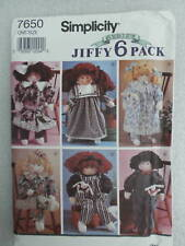 Simplicity 7650 Rag Doll & Clothing Wardrobe 6 Pieces Sewing Pattern 1991 Cut