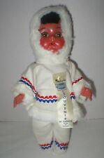 "Reliable Canada 1950's 11"" hard plastic Eskimo souvenir doll orig"