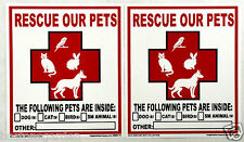 2 New RESCUE OUR PETS Window Decals,Exterior Weatherproof, Save Dog Cat Bird Etc