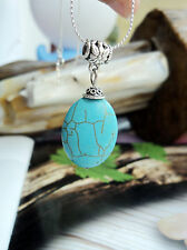 Women Lady BOHO Retro Bohemian Oval Blue Turquoise stone Necklace Chain