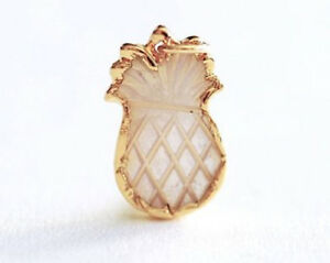 24K Gold Trim Pineapple Mother of Pearl Shell Charm Pendant Necklace
