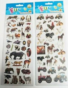 2 x Farm & Animal Zoo Stickers Self Adhesive - ideal for Crafts Card Making